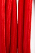 Red textile power cord