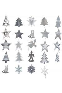 Présentoir de décorations en bois, 144 pièces
