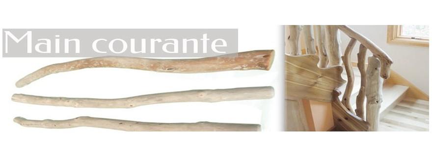 Main courante, rambarde et rampe d'escalier en bois flotté